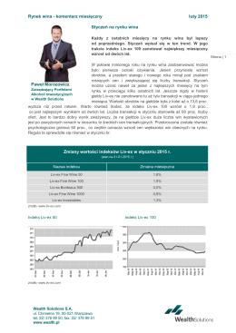 Rynek wina - komentarz miesięczny luty 2015 Styczeń na rynku
