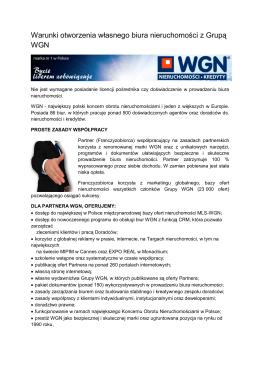 Warunki otworzenia własnego biura nieruchomości z Grupą WGN