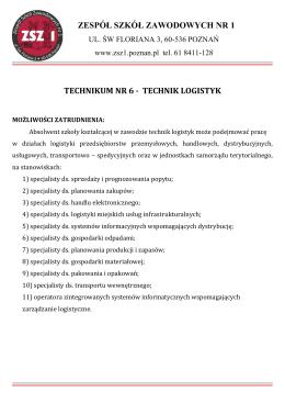 technik logistyk - Zespół Szkół Zawodowych Nr 1