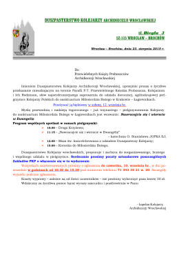 Zaproszenie Duszpasterza Kolejarzy Archidiecezji Wrocławskiej