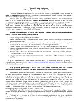 Instrukcja badań klinicznych DCO - Dolnośląskie Centrum Onkologii