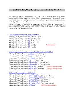 zainteresowanie oddziałami – nabór 2015