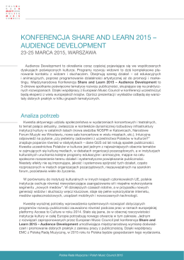 Share and Learn 2015 – Audience Development