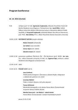 Program konference - Fundacja Silva Rerum Polonarum