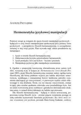Hermeneutyka językowej manipulacji