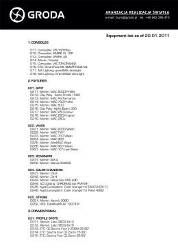 Equipment list as of 20.01.2011