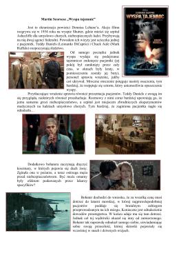 """Martin Scorsese """"Wyspa tajemnic"""" Jest to ekranizacja powieści"""