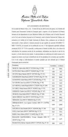Acta de Reserva de Identidad - Ministerio Público de la Defensa
