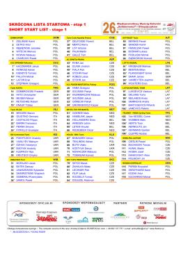 Lista startowa wyścigu UCI