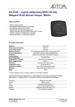 AY-Z12A – czytnik zbliżeniowy RFID 125 kHz, Wiegand 26