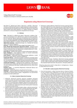 Regulamin usług MasterCard Concierge