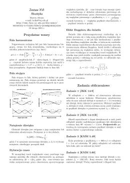 Zestaw XVI Akustyka Przydatne wzory Zadania obliczeniowe