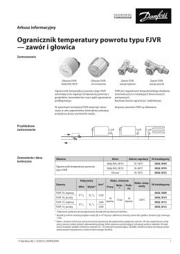 Ogranicznik temperatury powrotu typu FJVR — zawór