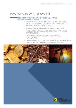 Broszura produktowa Inwestycja w Surowce II