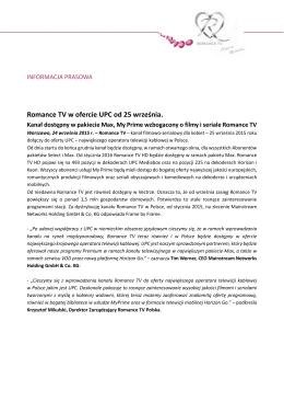 Romance TV w ofercie UPC od 25 września.