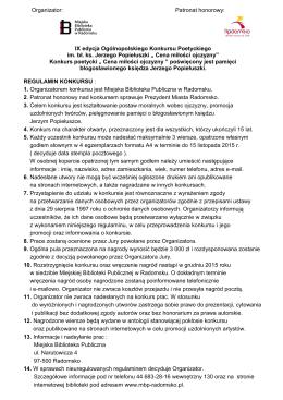 Regulamin konkursu - Miejska Biblioteka Publiczna w Radomsku