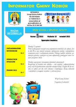 Informator Gminy Kobiór nr 5/2015 - 09.2015 r.