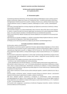 Regulamin rejestracji uczestników indywidualnych VIII Warszawskie