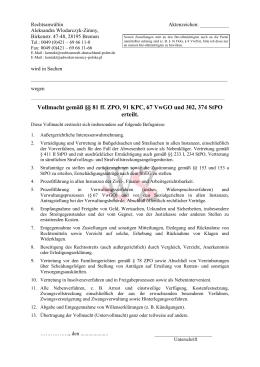 Vollmacht gemäß §§ 81 ff. ZPO, 91 KPC, 67 VwGO und 302, 374