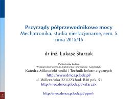Przyrządy półprzewodnikowe mocy Mechatronika, studia
