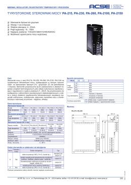tyrystorowe sterowniki mocy pa-215, pa-230, pa-260, pa