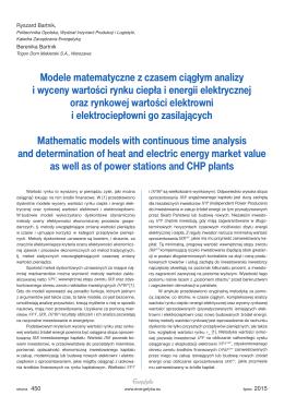 Modele matematyczne z czasem ciągłym analizy i wyceny wartości
