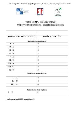 TEST ETAPU REJONOWEGO Odpowiedzi i punktacja