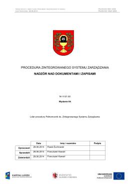 Procedura nadzór nad dokumentacją i zapisami