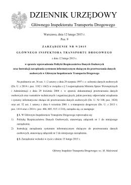 zarządzenie nr 9/2015 Głównego Inspektora Transportu Drogowego