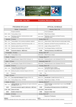 PROGRAM OFICJALNY OFFICIAL SCHEDULE