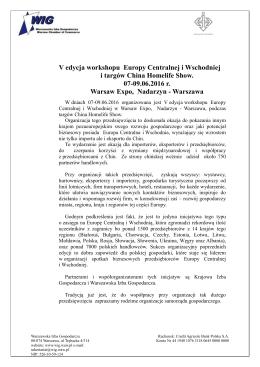 V edycja workshopu Europy Centralnej i Wschodniej i Targów China