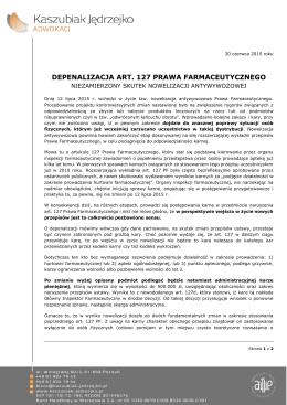 depenalizacja art. 127 prawa farmaceutycznego