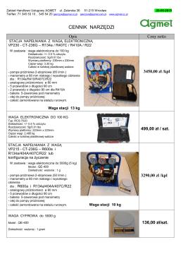 Promocyjny cennik na wybrane narzędzia 20.05.2015 CH-N