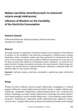 Wpływ czynników atmosferycznych na zmienność zużycia energii