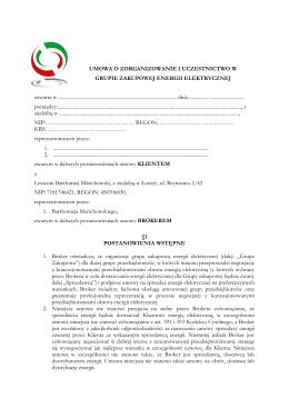 Umowa grupa zakupowa energii elektrycznej