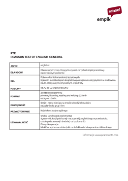 PTE PEARSON TEST OF ENGLISH GENERAL