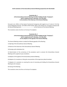 Draft resolutions of the Extraordinary General Meeting