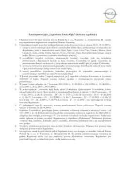 "Loteria promocyjna ""Legendarna Loteria Opla"" (skrócony regulamin"