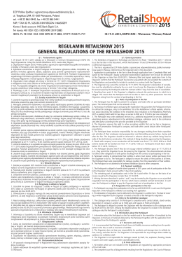 regulamin retailshow 2015 general regulations of the retailshow 2015