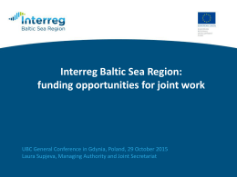 Interreg Baltic Sea Region Programme 2014-2020