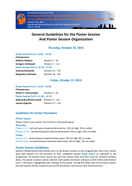 General Guidelines for the Poster Session And Poster Session