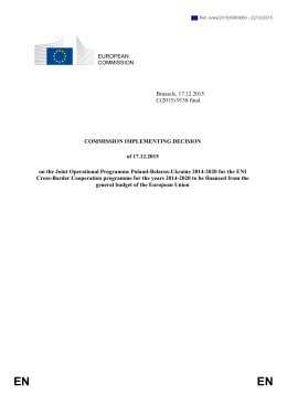 EUROPEAN COMMISSION Brussels, 17.12.2015 C(2015) 9138