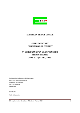Tromso Open 2015 - European Bridge League