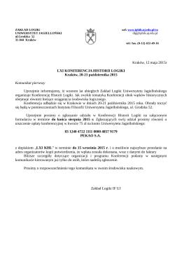 Kraków, 12 maja 2015r LXI KONFERENCJA HISTORII LOGIKI