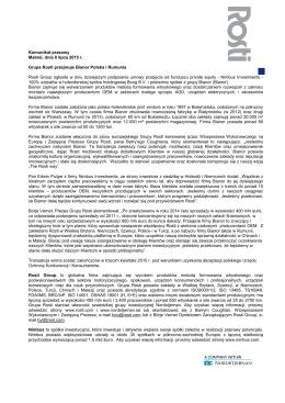 Grupa Rosti przejmuje Bianor Polska i Rumunia