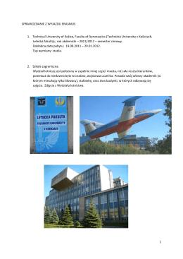 Sprawozdanie z wyjazdu, The Technical University of