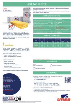 Karta techniczna płyta izolacyjna URSA TWP SILENTIO