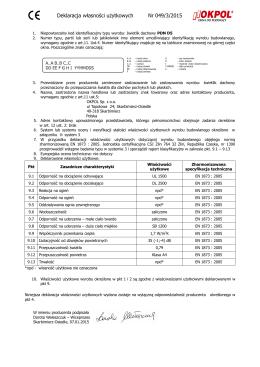 Deklaracja własności użytkowych Nr 049/3/2015