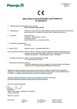 Deklaracja CE - blacha na rąbek