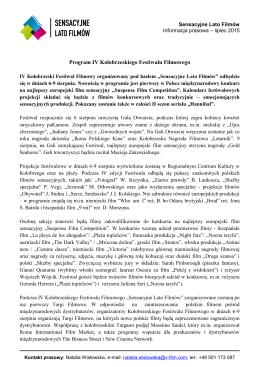"""Program IV Kołobrzeskiego Festiwalu """"Sensacyjne Lato Filmów"""" PDF"""